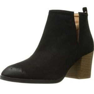 Qupid Wilson Side Slit Black Ankle Bootie